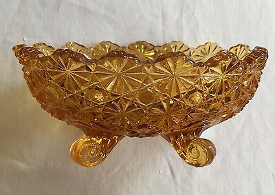 "VTG Hobbs Glass Daisy Button Amber Candy Pressed Bowl Dish Footed EAPG 5"" Long"