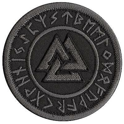 Valknut runic norse heathen pagan viking ACU Subdued black touch fastener patch