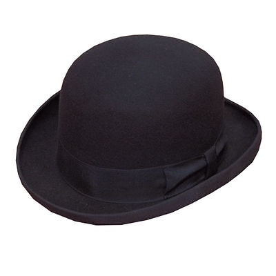 100% Wool Black Bowler Hat Men Womens Fashion Hat With Lining & Satin Band Small
