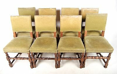 8 Antique Oak Dining Chairs Set of 8 Victorian Gothic Revival C19th