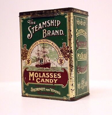 Vintage Steamship Brand Molasses Candy Tin – Scottish National Exhibition - 1911