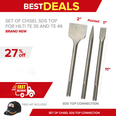 Chisel Sds Top 2″ X 11″, 1″ X 11″, Pointed, New, For Hilti Te 35, Fast Ship