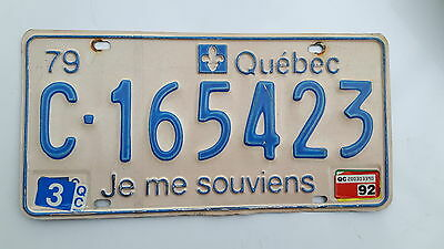 1979 QUEBEC truck   LICENSE PLATE with 1992 tag  C-165423