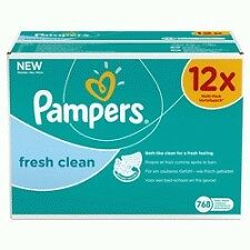 Pampers Fresh Clean babywipes 12 x 64 stuks
