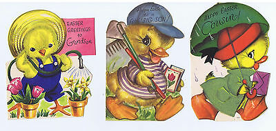Baby Chicks Easter Cards Flocked 1940's 50's Anthropomorphic lot of 3