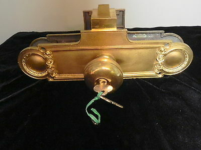 Vintage Set Of Solid Brass Door Knobs And Back Plates With Key