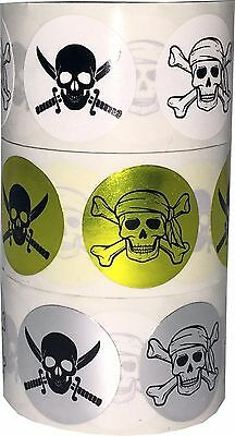 Skull and Crossbones Stickers, 3/4 Inch Round Labels, 100 Total, 3 Color Choices