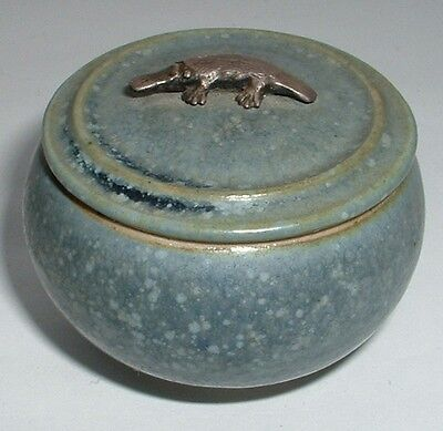 Signed Mark Heggie Small Lidded Pot With Silver Platypus Finial