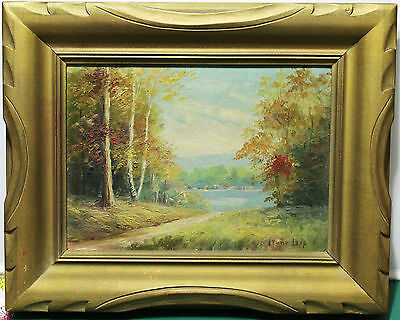 "Framed Oil Painting On Board - Autumn Landscape - Signed By ""Irene Lapp"""