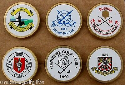 6 X OLD BRASS STEM CENTENARY GOLF BALL MARKERS OLD HOT FOIL MAKE 25+ yrs OLD