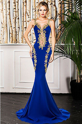 Blue Deluxe Lace Applique Mermaid Maxi Cocktail Evening Prom Dress Size UK 10-12