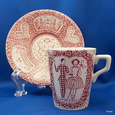 Nymolle Art Faience Demitasse Cup and Saucer Set Red on White by Jacob Bang