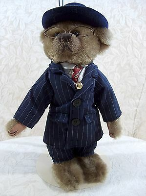 Brass Button Bear Baxter Wearing a Blue Pinstripes - 20th Century Pickford Bears