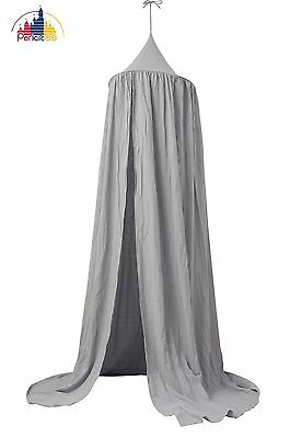NEW Pericross Bed Canopy for Baby Cotton Linen Height 220cm (Gray) Gray