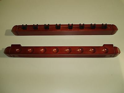 2 Piece Mahogany Pool/snooker Cue Rack Holds 8 Cues **