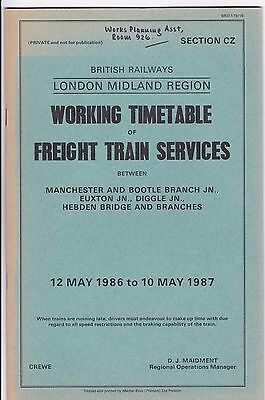 BR London Midland Region Working Timetable Sect CZ Freight Trains May 1986 WTT