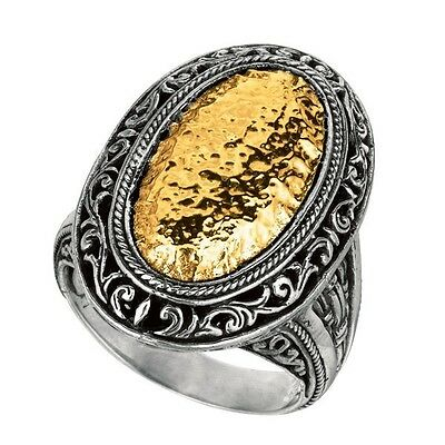Phillip Gavriel 18k Yellow Gold 925 Sterling Silver Oval Hammered Disc Ring