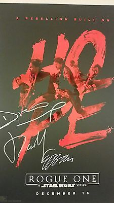 3 X Signed ROGUE ONE A STAR WARS STORY EL CAPITAN HOPE LE POSTER Diego/Donnie/GE