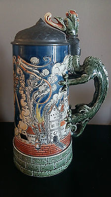 """Important """"St Florian"""" Mettlach Stein by Otto Hupp 1897 for Villeroy & Boch"""