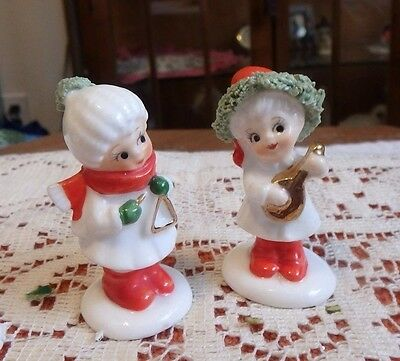 Vintage Miniature Napco Christmas Children Figurines - Lute and Triangle