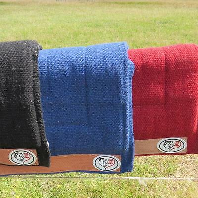 LOVE MY HORSE Thick Wool Stock / Western Saddle Blanket Pad Blue / Red / Black