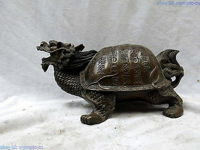 China bronze fine workmanship lucky carved longevity turtle Sculpture Statue