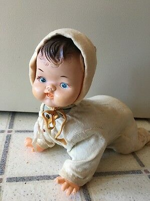 Vintage Tin Vinyl Plastic Crawling Baby Doll Original Outfit Battery - WORKS!!