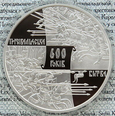 Ukraine 20 UAH 2010 PROOF 2 OZ Silver COA 600 Years of Grunwald Battle