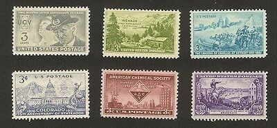 US Stamps - Scotts 998 - 1003, 1951 Commemorative Set, MNH
