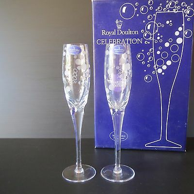 Royal Doulton Celebration Champagne Flutes, Year 2000 Edition, Boxed, Lovely, A