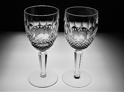 """Waterford Crystal """"Colleen"""" Tall Stem 6½"""" Wine Clarets/glasses – Set Of 2"""