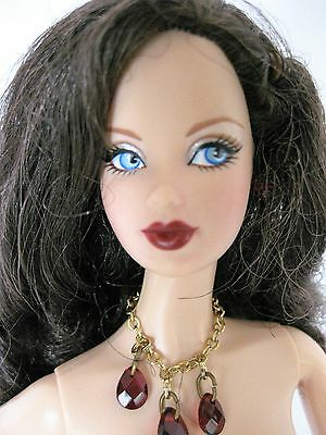 Nude Barbie  Brunette Birthstone Beauties Miss Ruby Model Muse Doll For Ooak