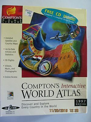 Compton's Interactive World Atlas 1997 Edition with free Compton's Street Guide