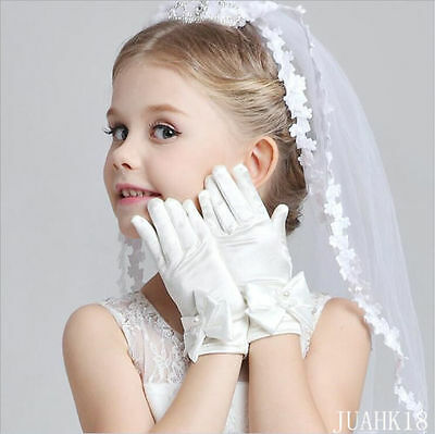 White Children Dress Glove Bowknot Bead Flower Gril Show Wrist Gloves 4 Color