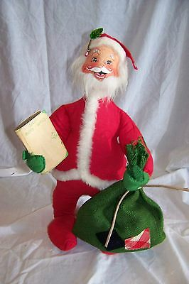 "Vtg 1971 LARGE 18"" Annalee Mobilitee Doll Christmas Santa Claus USA"