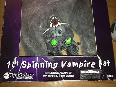 "ANIMATED NEW IN BOX SPINNING VAMPIRE Plush BAT 18"" HAUNTED Prop"