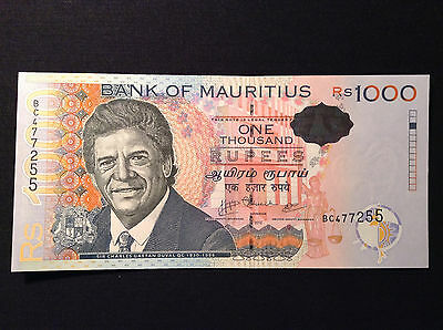 Mauritius 1000 Rupees 2010 perfect UNC COLLECTIBLE!