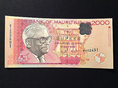Mauritius 2000 Rupees 1999 perfect UNC COLLECTIBLE!
