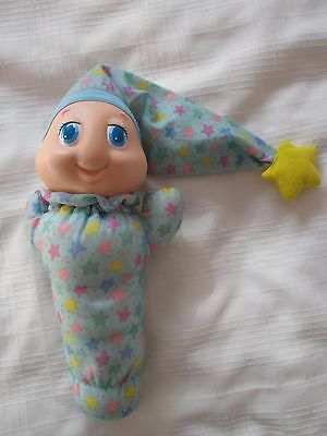 1988 Playskool Blue Gloworm Glow Glo Light Worm Plush Doll Works!!