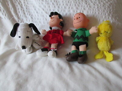 1993 Mcdonalds Woodstock Snoopy Lucy Charlie Brown Plush Doll Peanuts Gang Set 4