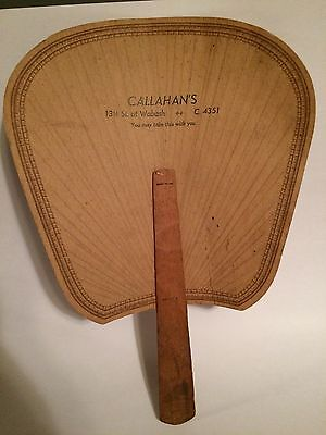 Vintage Callahan'a Advertising Paper Wood Hand Fan Terre Haute, Indiana