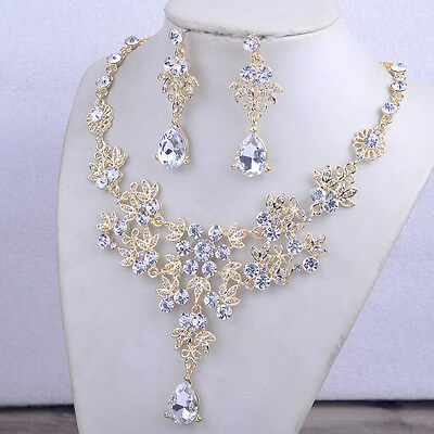 Party Alloy Rhinestone Earrings Crystal Pendant Necklace Bridal Jewelry Set