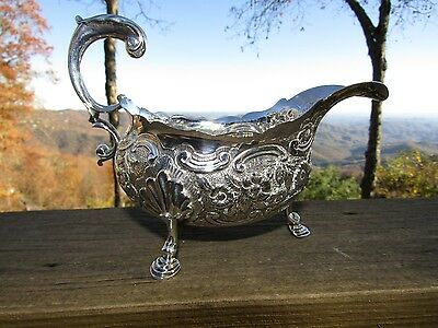 English Sterling Silver Repousse Gravy Boat Francis Crump 1770