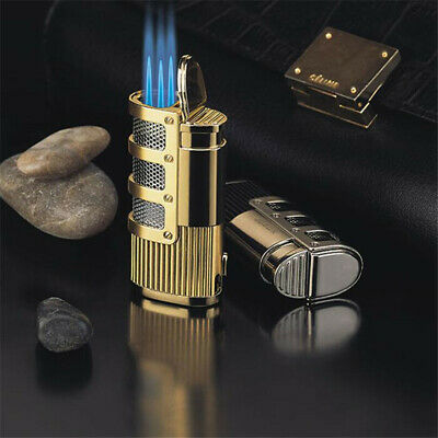 Jobon Torch Windproof Triple Jet Flame Refillable Butane Gas Cigar Lighter GOLD