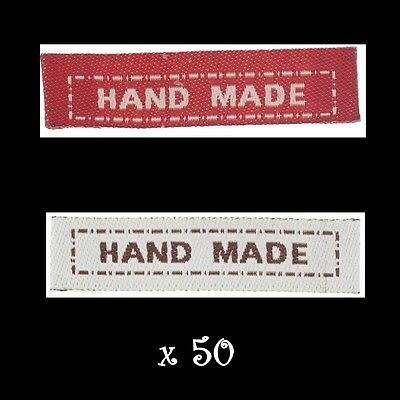 50pcs HAND MADE Sew on Labels tags Craft Hobbies Clothing Sewing  *SEE NOTE*