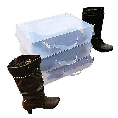 Ladies Knee High Boot Stackable Plastic Shoe Box Storage Foldable L6