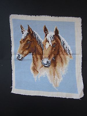 Vintage Beautiful Handmade Gobelin Tapestry Needlepoint Two Cuties Horses