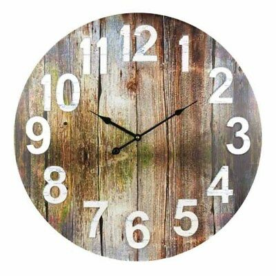 Rustic Brown Wooden Beach Coastal 60cm Clock Home Decor