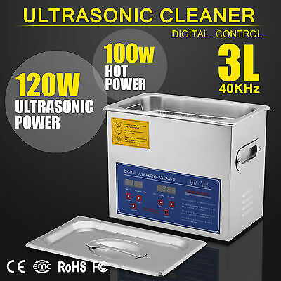 Stainless Steel 3L Industry Heated Ultrasonic Cleaner Heater w/Timer Updated