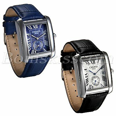 Men's Casual Retro Roman Numberals Square Dial Leather Date Quartz Wrist Watch